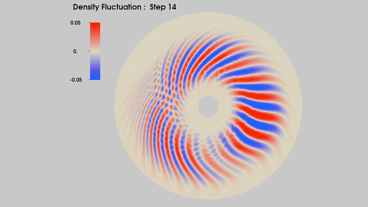Circular cross section showing electron density fluctuation at one time step within a torus.