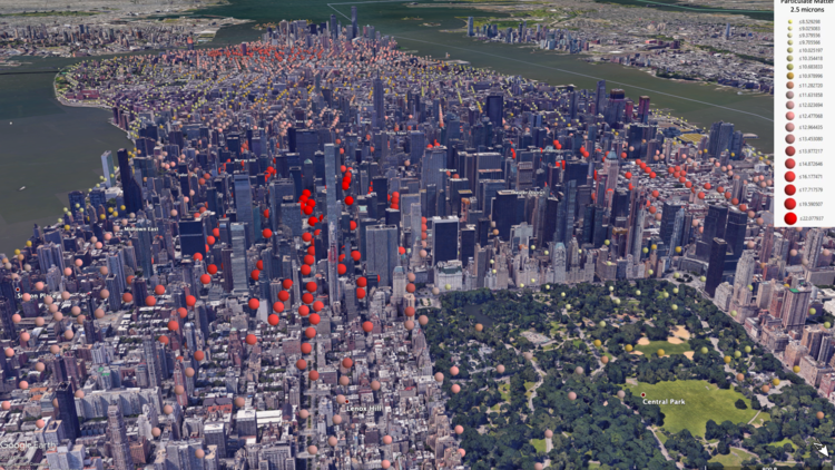 A 3D map of Manhattan in New York City, with circles indicating that air pollution is higher in the parts of the streets than in Central Park.