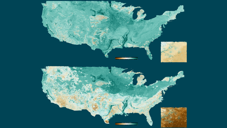 Two maps of the continental United States showing soil moisture during the winter and summer.